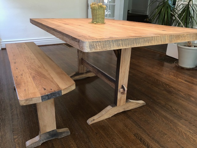 Trestle Table & Bench of Barn Wood